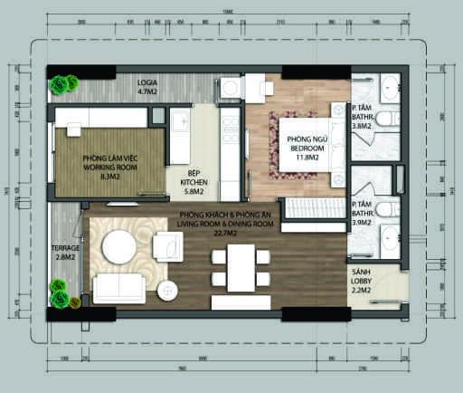 Thiết kế căn hộ A1.1-1 phòng ngủ – 70.4M2