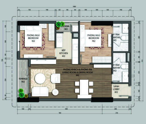 Thiết kế căn hộ A1.2-2 phòng ngủ – 70.4M2