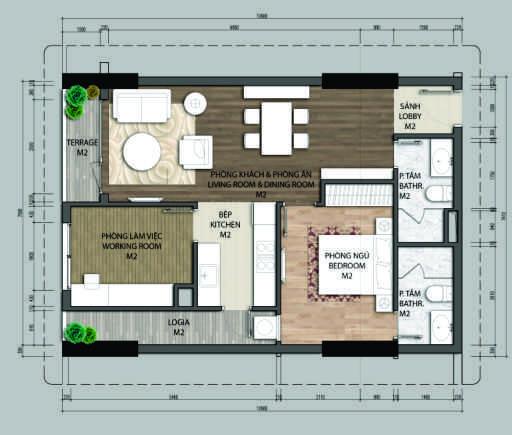 Thiết kế căn hộ A2.2-1 phòng ngủ – 69.8M2