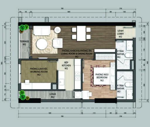 Thiết kế căn hộ A3-1 phòng ngủ – 68.2M2
