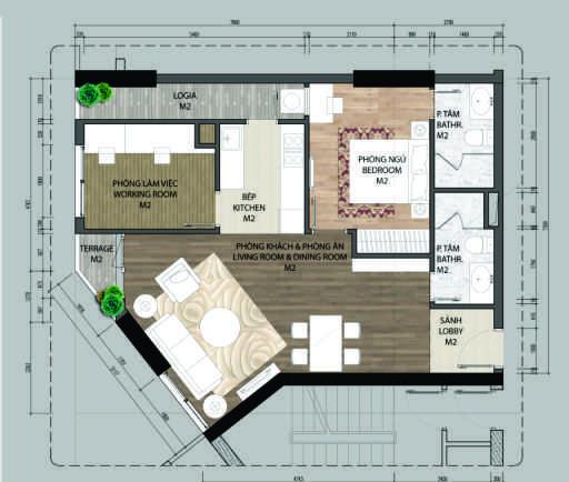 Thiết kế căn hộ A4.1-1 phòng ngủ – 72.1M2