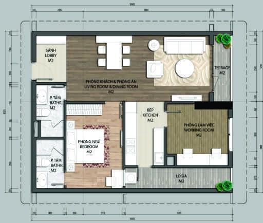 Thiết kế căn hộ B1.1-1 phòng ngủ – 82.1M2