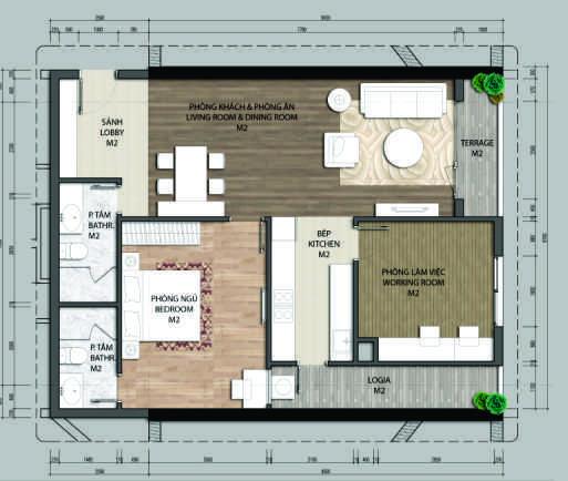 Thiết kế căn hộ B2-1 phòng ngủ – 93.9M2