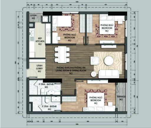 Thiết kế căn hộ C1-3 phòng ngủ – 103.8M2