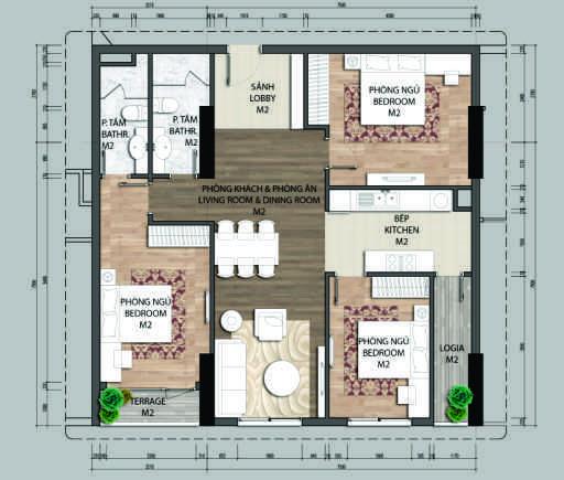 Thiết kế căn hộ C2-3 phòng ngủ – 104.5M2