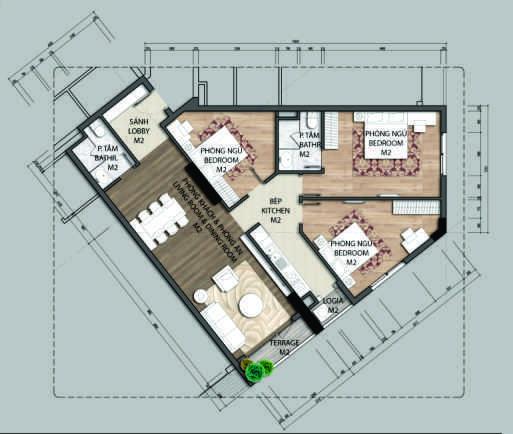 Thiết kế căn hộ C3-3 phòng ngủ – 1127M2
