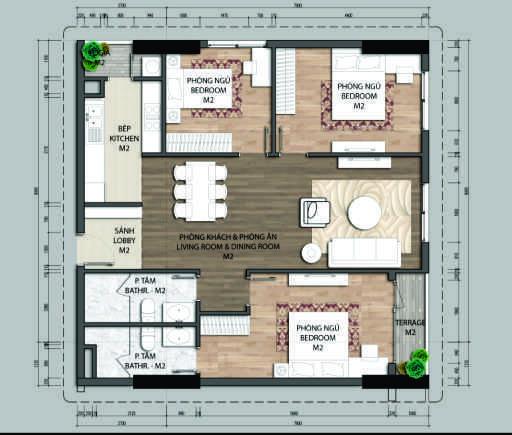 Thiết kế căn hộ C4-3 phòng ngủ – 100.4M2