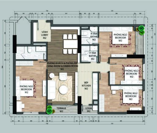 Thiết kế căn hộ D1-4 phòng ngủ – 134.4M2