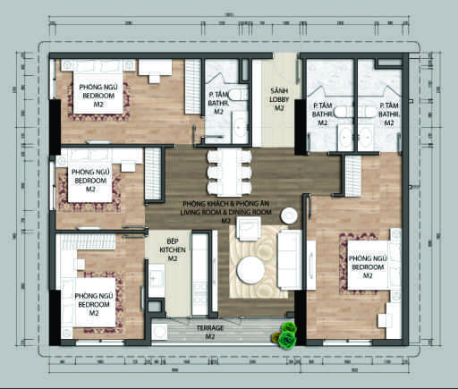 Thiết kế căn hộ D2-4 phòng ngủ – 126.7M2